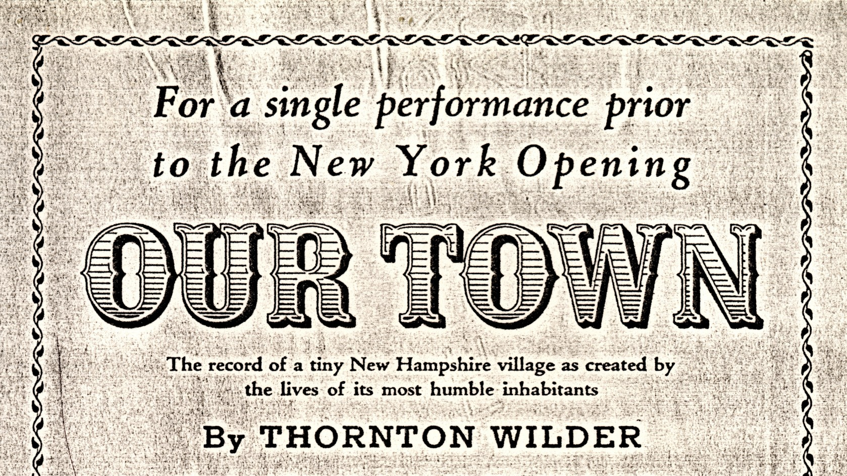 an analysis of our town essay Free essay: our town is a play that takes place near the turn of the century in the small rural town of grover's corners, new hampshire the.