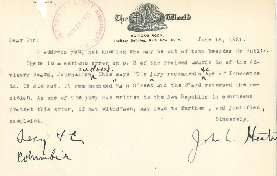 Image result for sinclair lewis pulitzer letter
