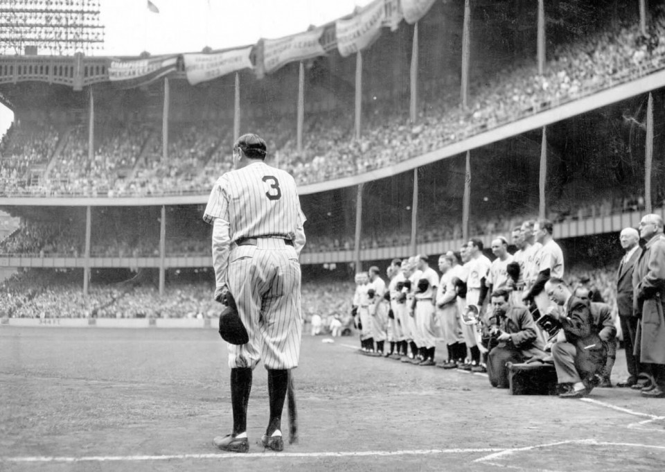 Babe Ruth makes his final appearance at Yankee Stadium on