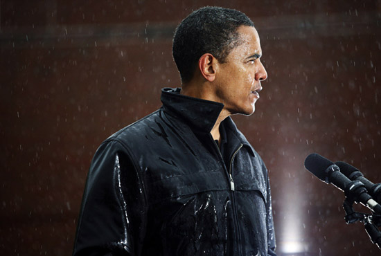 Senator Obama drenched, during a rally at Widener University in Chester, Pa. (Damon Winter, The New York Times - 2008)